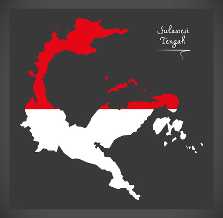 Sulawesi Tengah Indonesia map with Indonesian national flag illustration
