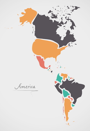 mainland: America Continent Map with states and modern round shapes