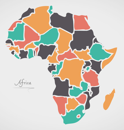 Africa Continent Map with states and modern round shapes 向量圖像