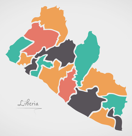 Liberia Map with states and modern round shapes Illustration