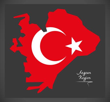 トルコの国旗のイラストがエーゲ海地方トルコ地図。