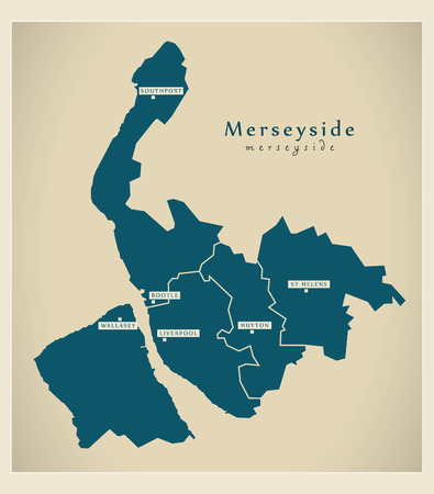 liverpool: Modern Map - Merseyside metropolitan county with districts and cities UK England