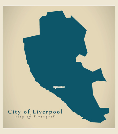 liverpool: Modern Map - City of Liverpool district of Merseyside UK England