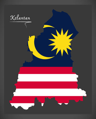 Kelantan Malaysia map with Malaysian national flag illustration
