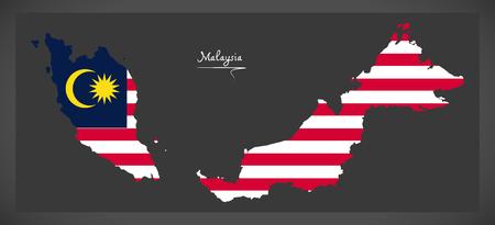 Malaysia map with Malaysian national flag illustration Illustration