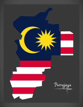 Putrajaya Malaysia map with Malaysian national flag illustration