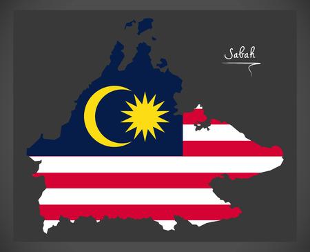 マレーシアの国旗のイラストがサバ州、マレーシアの地図