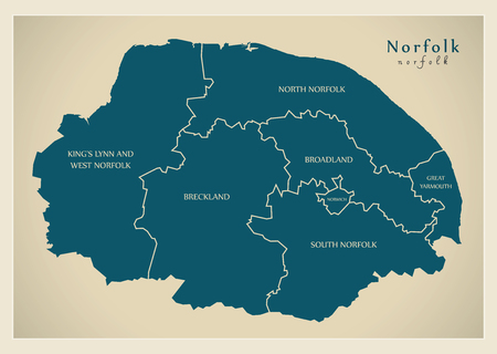 Modern Map - Norfolk county with detailed captions UK illustration