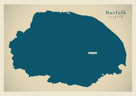 Modern Map - Norfolk county England UK illustration