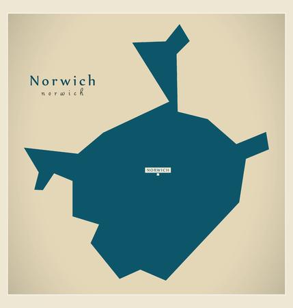 Modern Map - Norwich district of Norfolk England UK illustration Illustration
