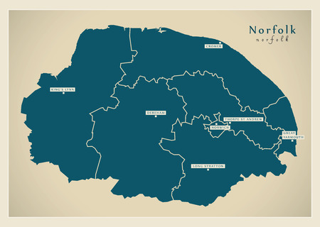 Modern Map - Norfolk county with districts and cities UK illustration Illustration