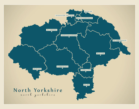 Modern Map - North Yorkshire county with cities and districts England UK illustration Illustration