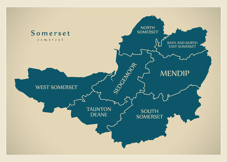 Modern Map - Somerset county with district captions England UK illustration 일러스트