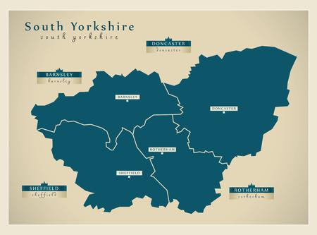 Modern Map - South Yorkshire Metropolitan County with district labels UK illustration Illustration