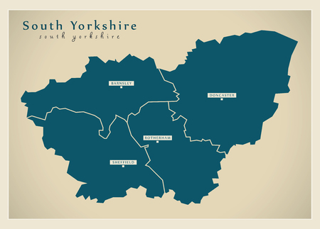 Modern Map - South Yorkshire Metropolitan County with cities and districts England UK illustration Illustration