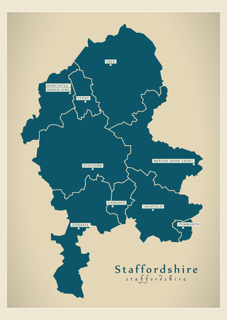 Modern Map - Staffordshire county with cities and districts England UK illustration Illustration