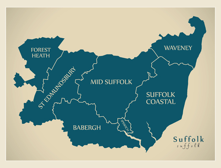 Modern Map - Suffolk county with district captions England UK illustration Illustration