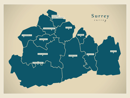 Modern Map - Surrey county with cities and districts England UK illustration Иллюстрация