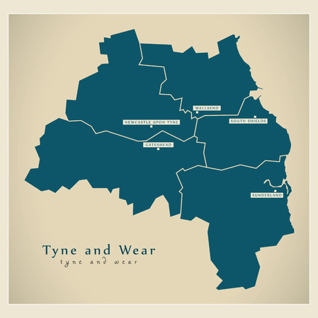 Modern Map - Tyne and Wear Metropolitan County with cities and districts England UK illustration