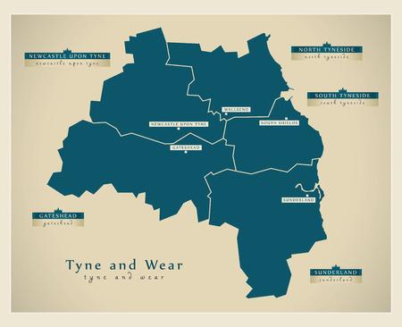 Modern Map - Tyne and Wear metropolitan county England UK illustration Illustration