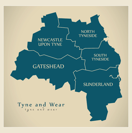 metropolitan: Modern Map - Tyne and Wear Metropolitan County with district captions England UK illustration