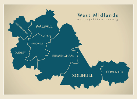 Modern Map - West Midlands metropolitan county with district captions England UK