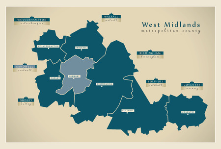 Modern Map - West Midlands metropolitan county with district labels England UK