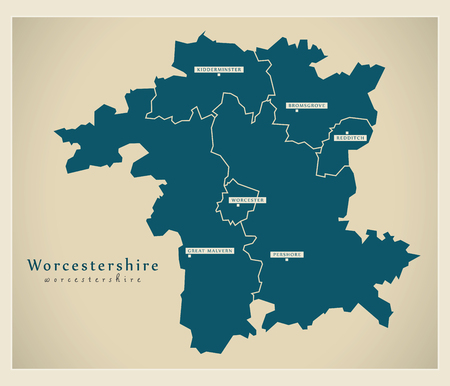 redditch: Modern Map - Worcestershire county with cities and districts England UK illustration