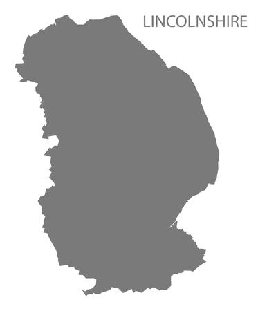 metropolitan: Lincolnshire county map England UK grey illustration silhouette shape Illustration