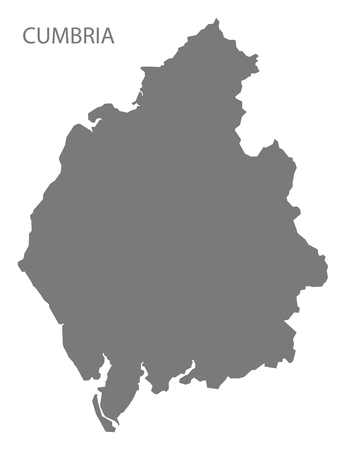 cumbria: Cumbria county map England UK grey illustration silhouette shape Illustration