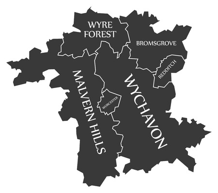 Worcestershire county England UK black map with white labels illustration