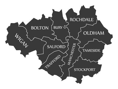metropolitan: Greater Manchester metropolitan county England UK black map with white labels illustration