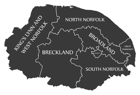Norfolk county England UK black map with white labels illustration Illustration