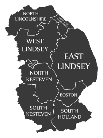 Lincolnshire county England UK black map with white labels illustration