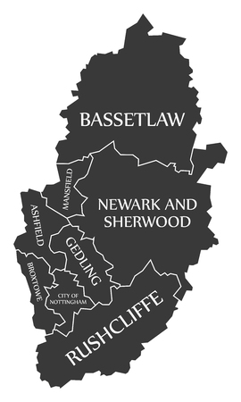 Nottinghamshire county England UK black map with white labels illustration
