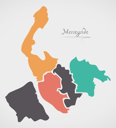 Merseyside England Map with states and modern round shapes. Illustration