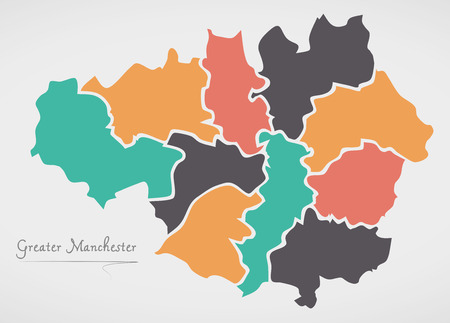 Greater Manchester England Map with states and modern round shapes.