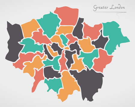 Greater London England Map with states and modern round shapes.