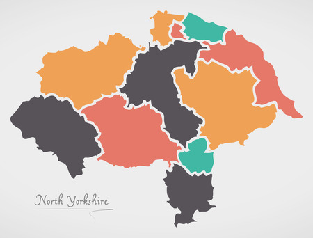 North Yorkshire England Map with states and modern round shapes