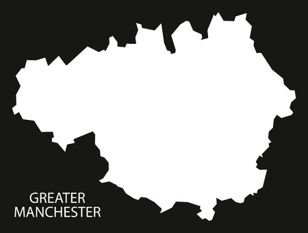 Greater Manchester England UK Map Black Inverted Silhouette ...