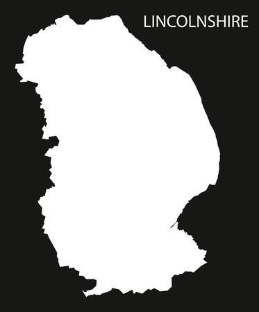 リンカンシャー イギリス地図黒反転シルエット イラスト