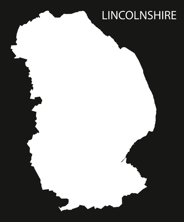 Lincolnshire England UK map black inverted silhouette illustration Çizim