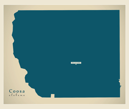 Modern Map - Coosa Alabama county USA illustration