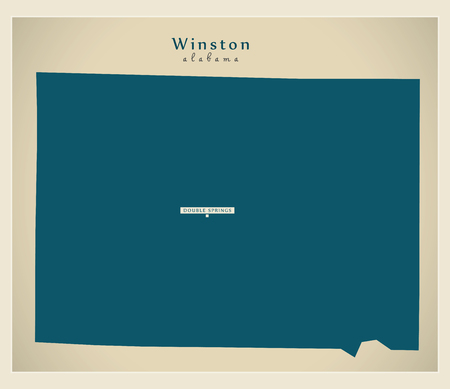 Modern Map - Winston Alabama county USA illustration
