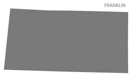 アラバマ州、アメリカの灰色の図のシルエットのフランクリン郡地図