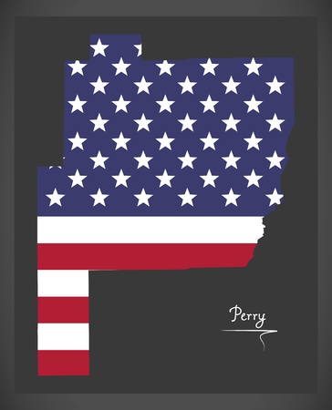 Perry county map of Alabama USA with American national flag illustration