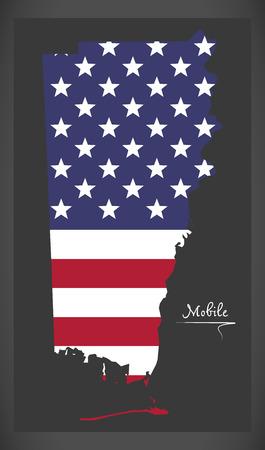 アメリカの国旗のイラストが米国アラバマのモバイル郡地図