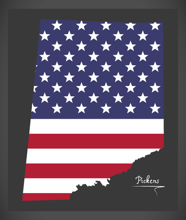 Pickens county map of Alabama USA with American national flag illustration Illustration