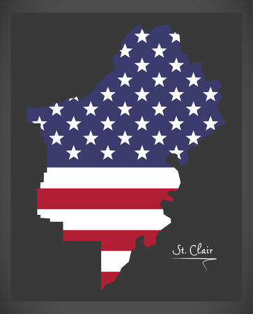 St Clair county map of Alabama USA with American national flag illustration Illustration
