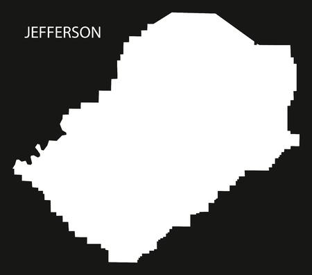 jefferson: Jefferson county map of Alabama USA black inverted illustration